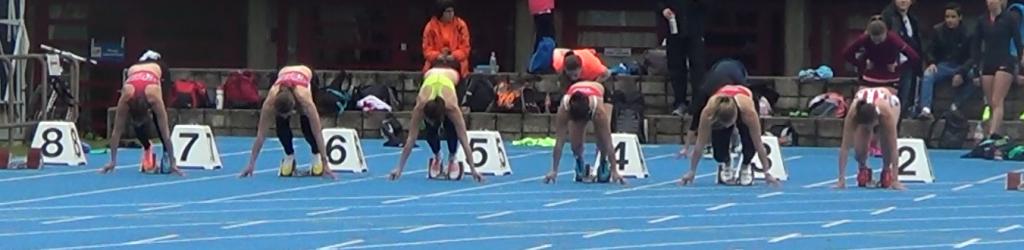 Départ du 100m femmes avec 4 Stadistes (Charline, Léa, Debora, Anne)